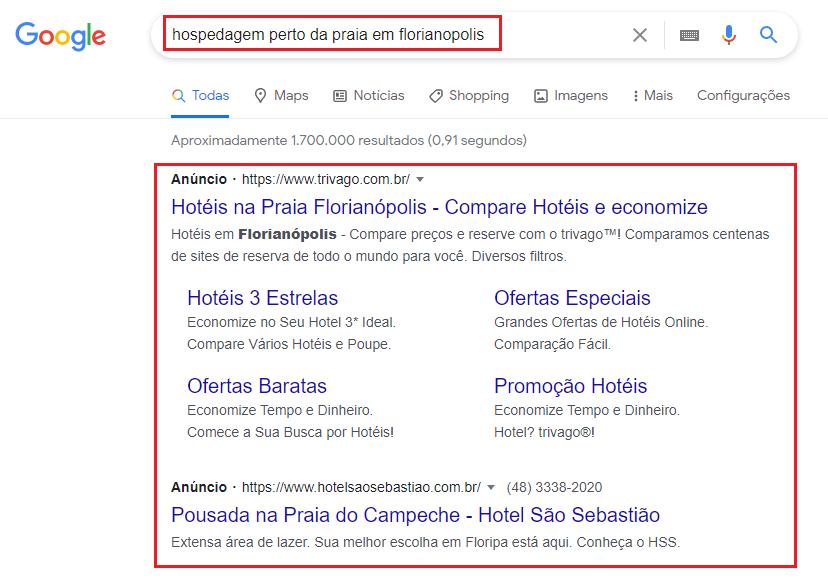 exemplo de anúncios de hotéis no Google