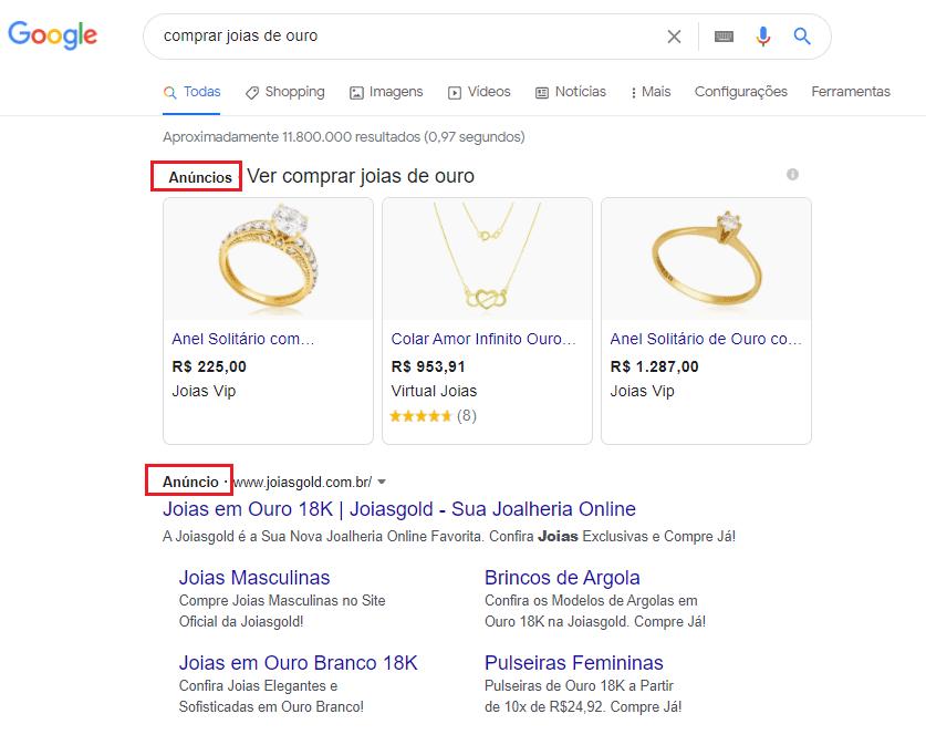 exemplo anúncio de joias e bijuterias no google