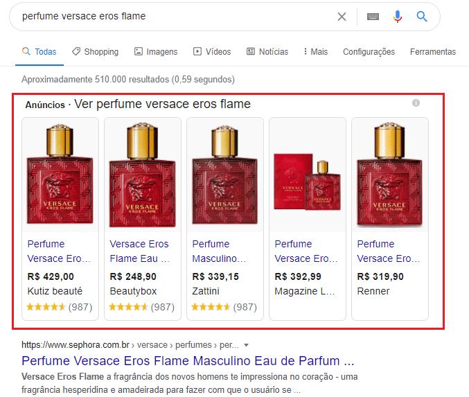 exemplo de anúncios de perfume no google shopping