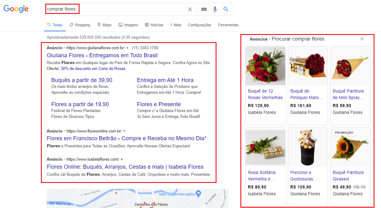 anúncios de flores no Google