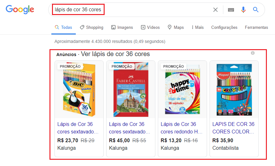 exemplo anúncios lápis de cor