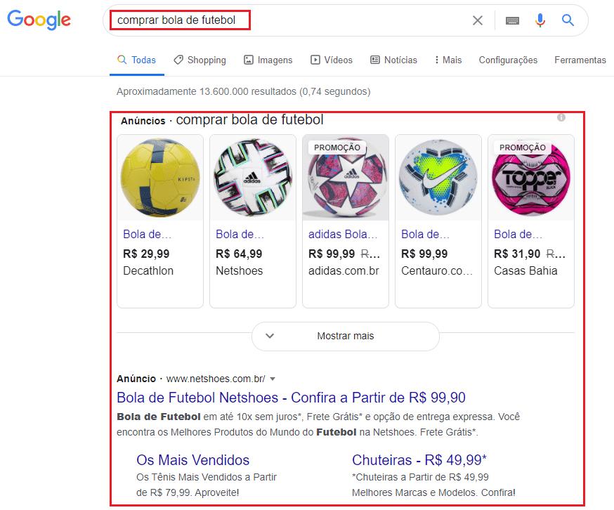 exemplo de anúncios de produtos esportivos