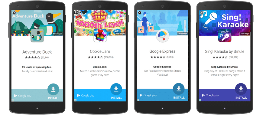 Anúncios in app tela cheia ambiente mobile