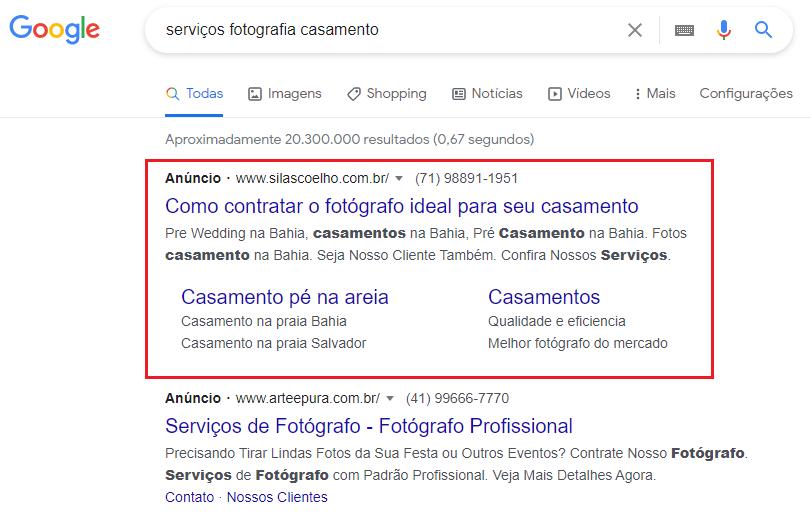 Anunciar serviços de fotografia no Google
