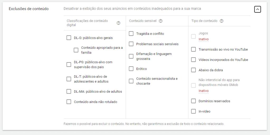 exclusões de conteúdo na rede de display
