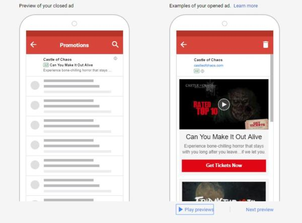 anúncios em Vídeo no Gmail