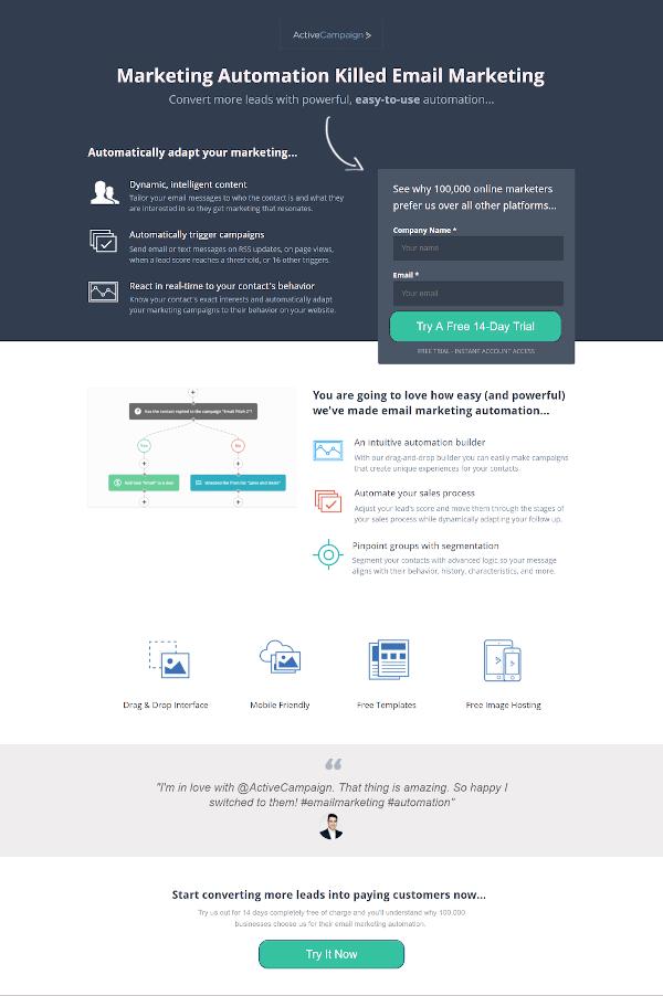 Modelo de landing page para inbound marketing
