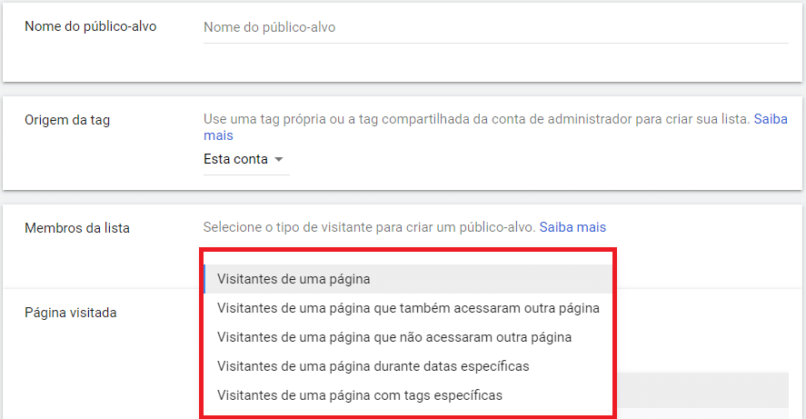 configurar membros lista remarketing