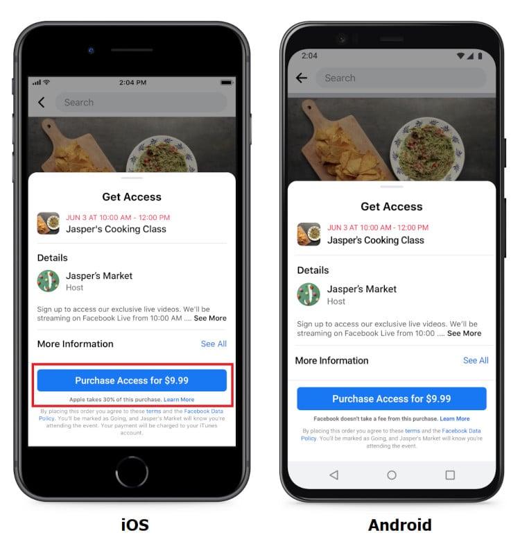 eventos online pagos do Facebook
