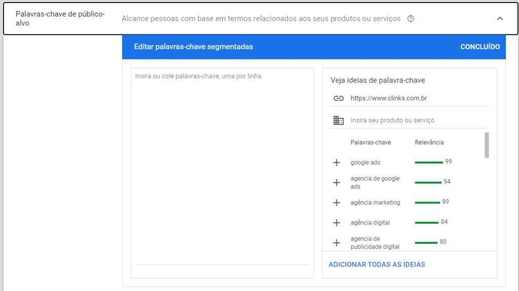 palavras-chave públicos-alvo na campanha do gmail