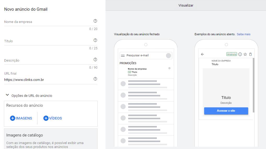 visualizar anúncios da campanha do gmail