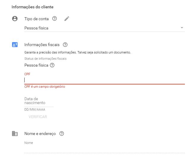 configurações de pagamento ao criar 1ª conta no google ads