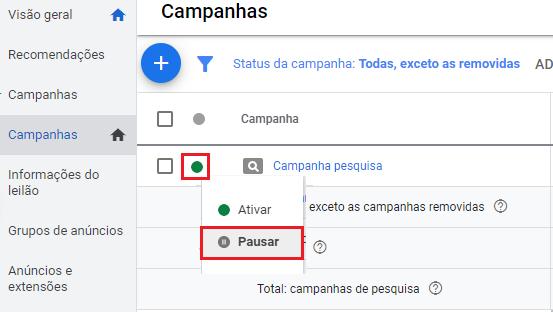pausar ou excluir campanha google ads